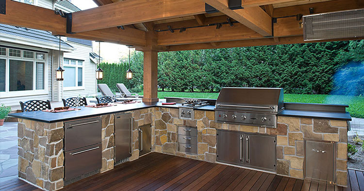 enjoy your own party outdoor kitchens make it fun. Black Bedroom Furniture Sets. Home Design Ideas