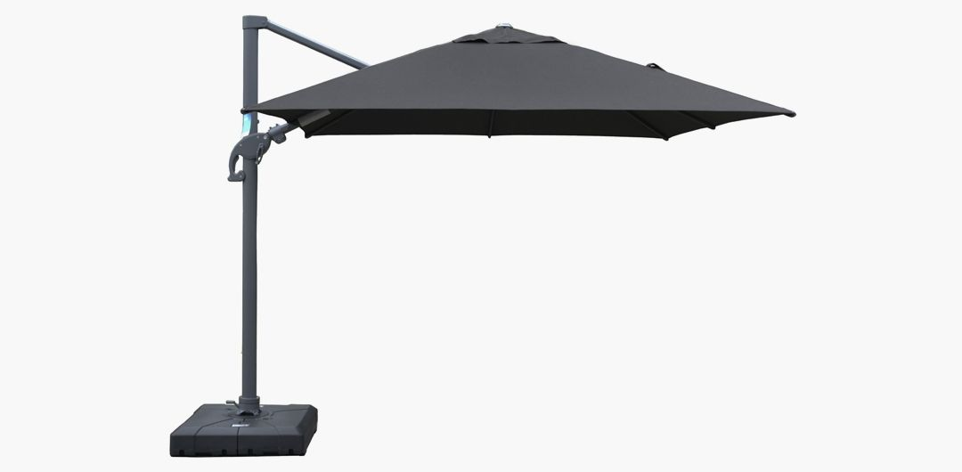 Amalfi 3 metre cantilever umbrella in spun acrylic dark grey inc. water base