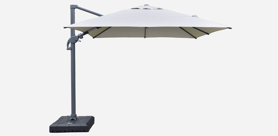 Amalfi 3 metre cantilever umbrella in spun acrylic light grey inc. water base