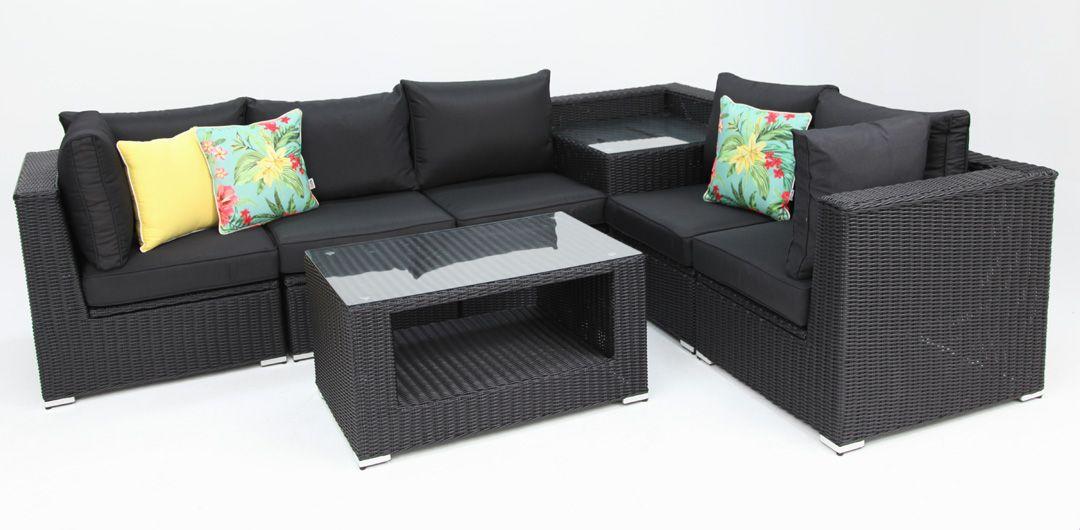 Amani storage 7 piece premium modular lounge setting with coffee & corner table black half round/charcoal