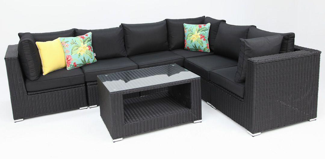 Amani storage 7 piece premium modular lounge setting with coffee table black half round/charcoal
