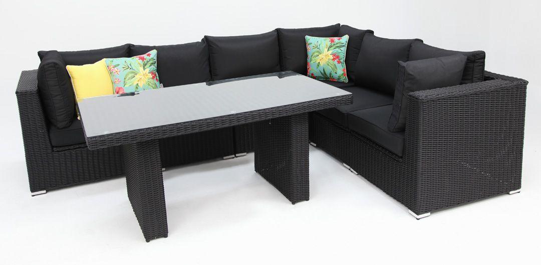 Amani storage 7 piece premium modular lounge setting with lounge/dining table black half round/charcoal