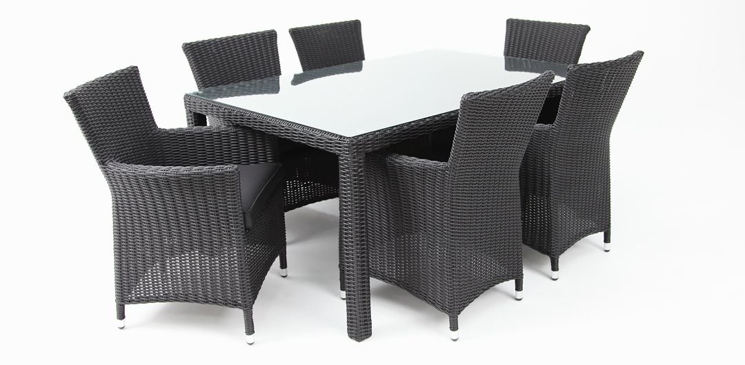 Amani 160cm x 104cm 7 piece half round dining setting black half round/charcoal clear glass