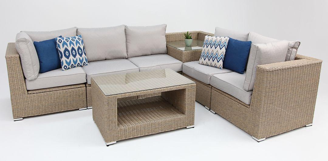 Amani storage 7 piece premium modular lounge setting with coffee & corner table driftwood/stone