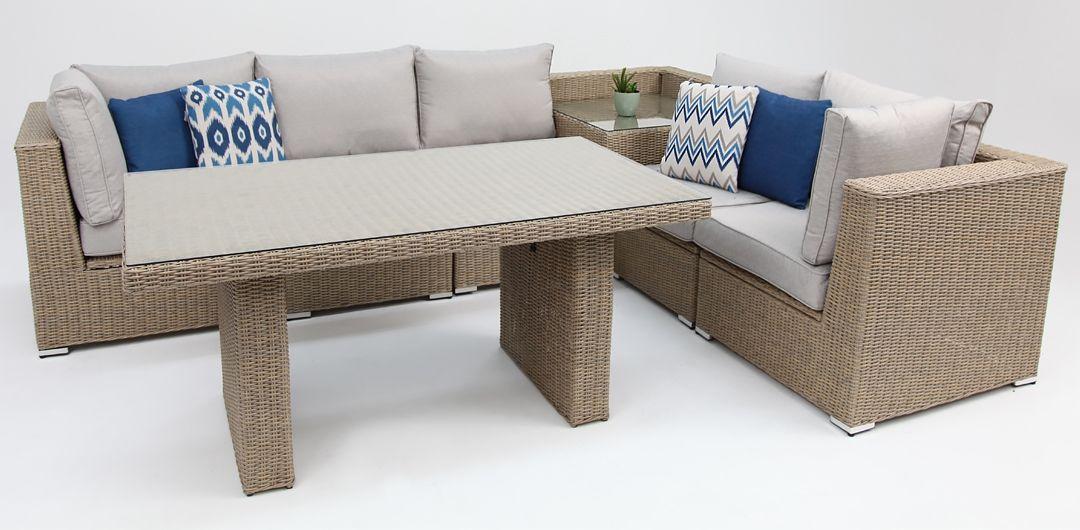 Amani storage 7 piece premium modular lounge setting with lounge/dining & corner table driftwood/stone