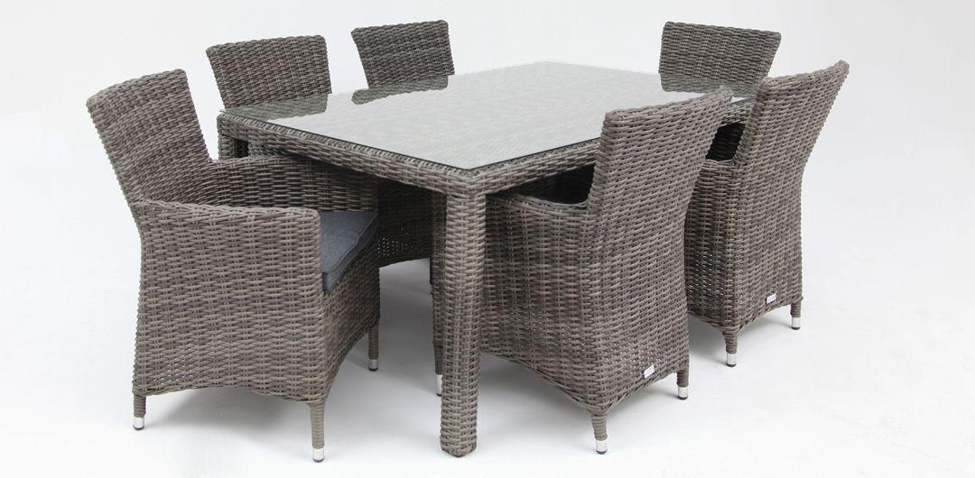 Amani 160cm x 104cm 7 piece half round dining setting grey/storm clear glass