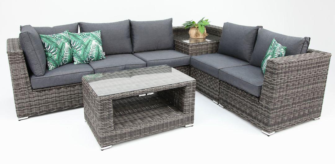 Amani storage 7 piece premium modular lounge setting with coffee & corner table grey/storm