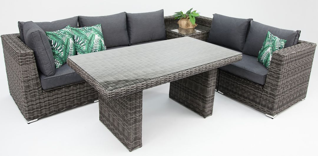 Amani storage 7 piece premium modular lounge setting with lounge/dining & corner table grey/storm