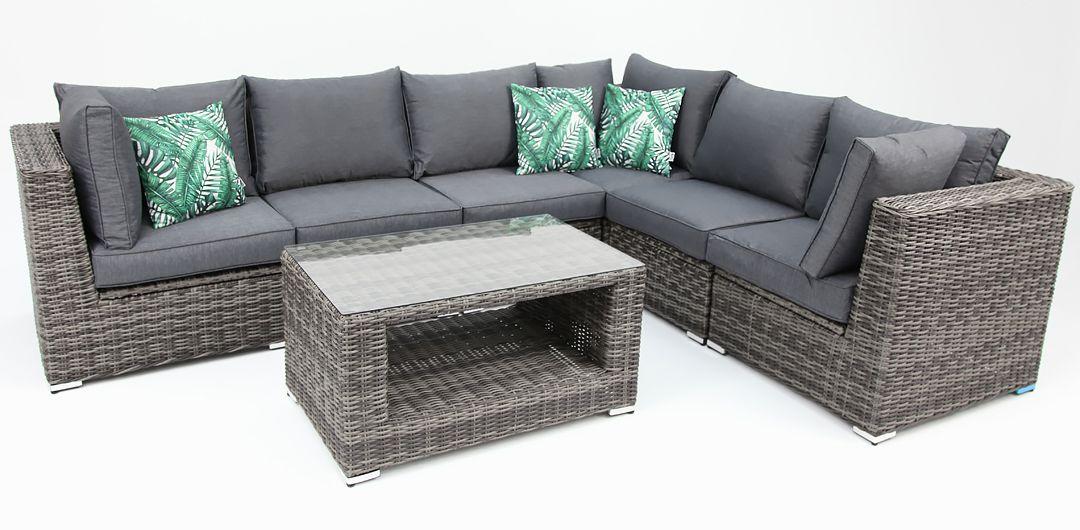 Amani storage 7 piece premium modular lounge setting with coffee table grey/storm