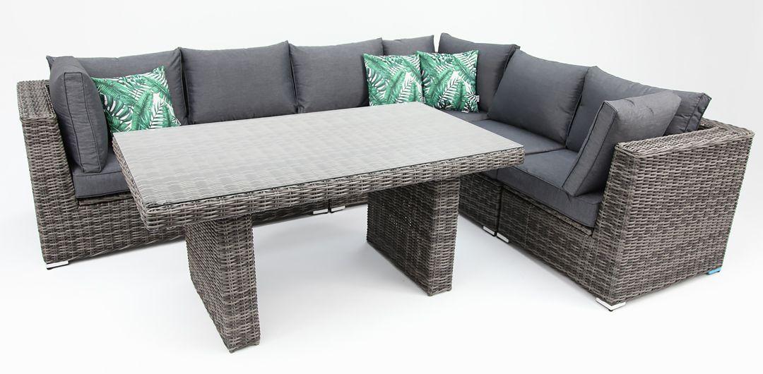 Amani storage 7 piece premium modular lounge setting with lounge/dining table grey/storm
