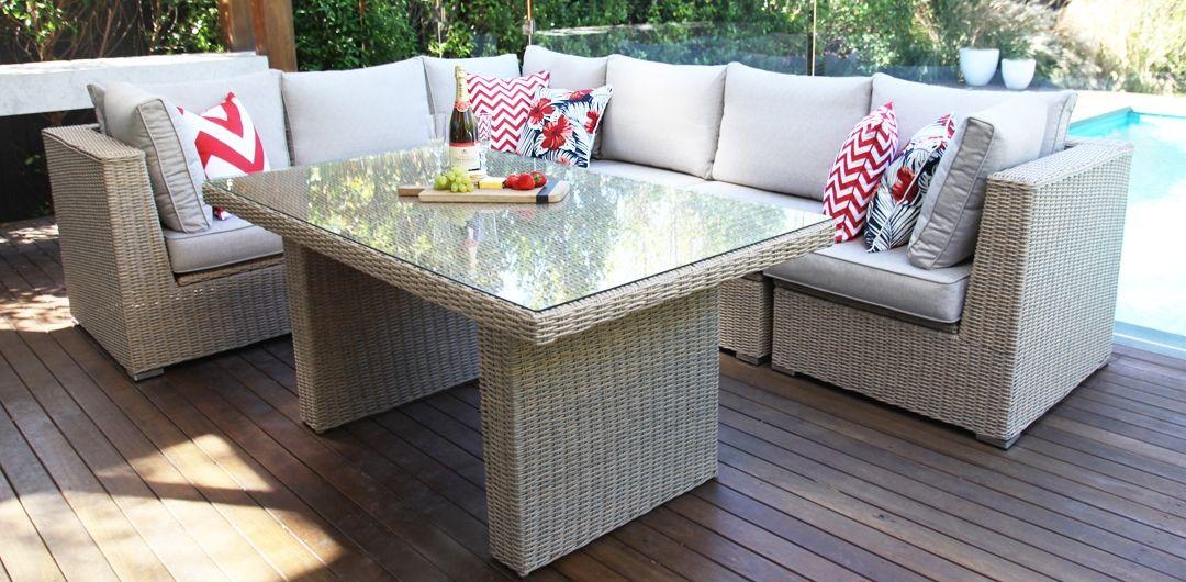 Amani storage 7 piece premium modular lounge setting with lounge/dining table driftwood/stone