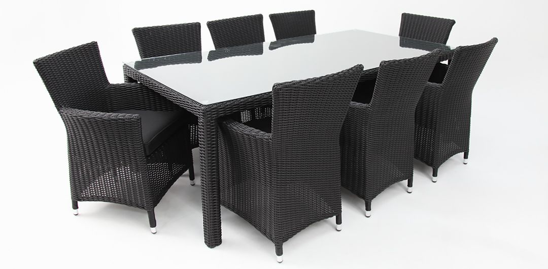 Amani 210cm x 104cm 9 piece half round dining setting black half round/charcoal clear glass