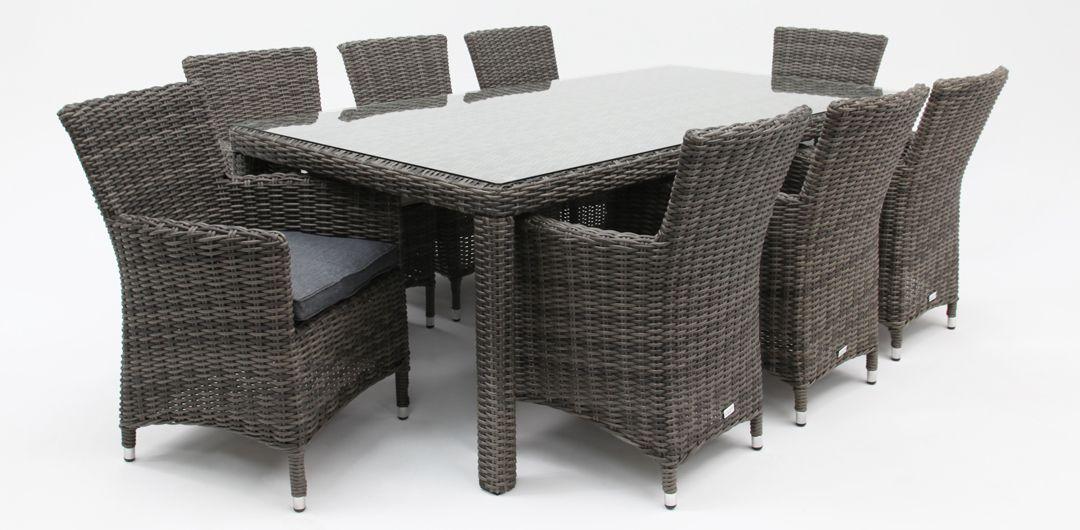 Amani 210cm x 104cm 9 piece half round dining setting grey/storm clear glass