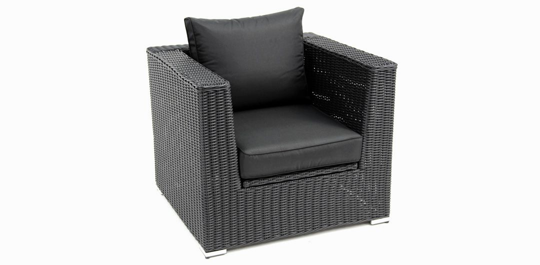 Amani storage armchair black half round/charcoal
