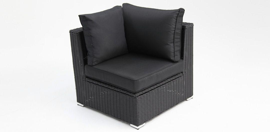 Amani storage corner chair black half round/charcoal