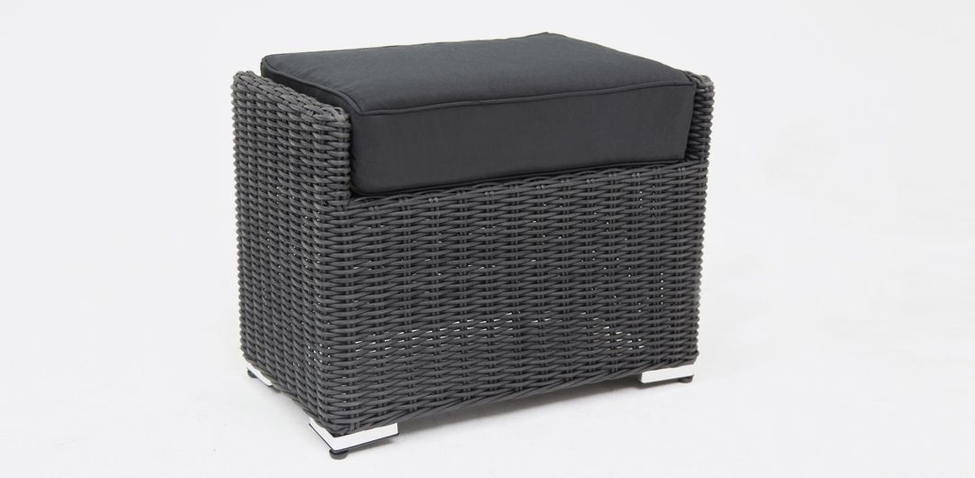 Amani footstool black half round/charcoal