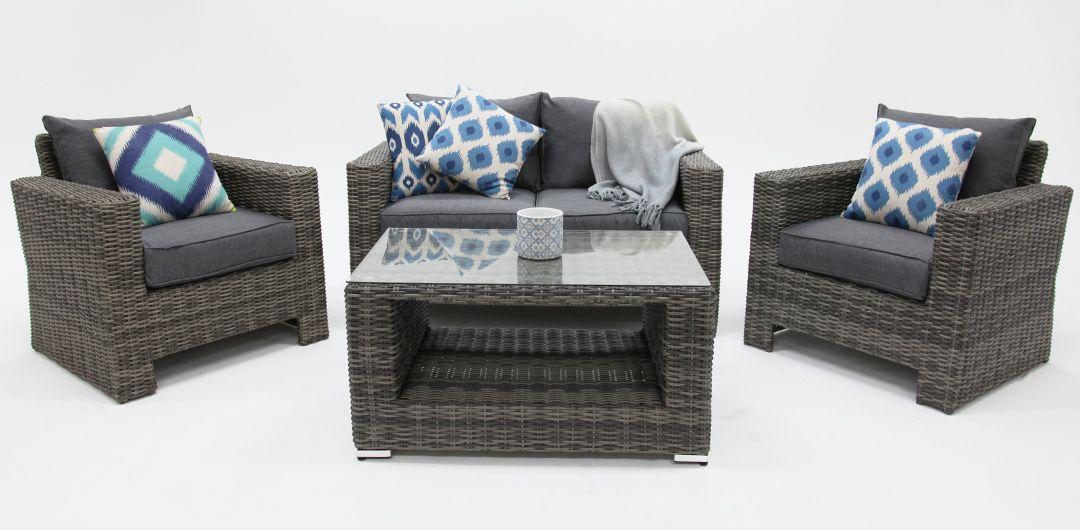 Banksia 4 piece lounge setting (2+1+1+CT) half round rattan grey/storm