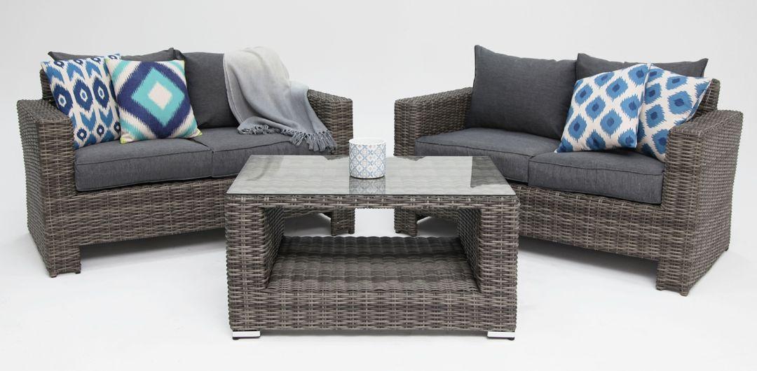 Banksia 3 piece lounge setting (2+2+CT) half round rattan grey/storm