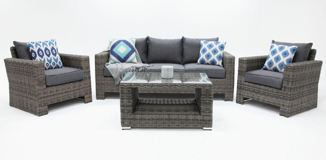 Banksia 4 piece lounge setting (3+1+1+CT) half round rattan grey/storm
