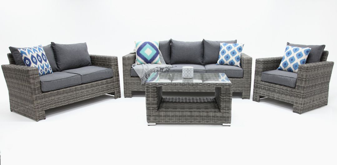 Banksia 4 piece lounge setting (3+2+1+CT) half round rattan grey/storm