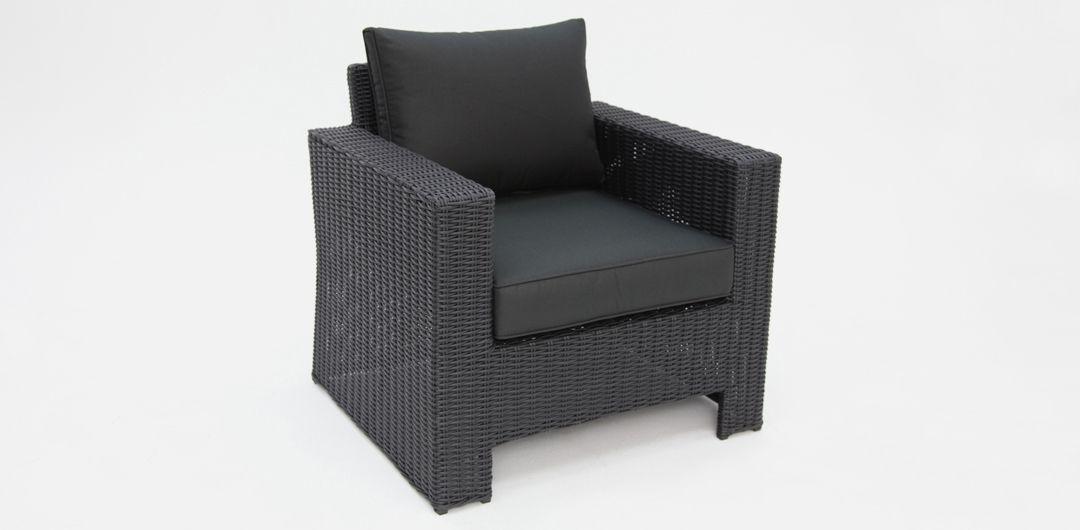 Banksia Black half round Charcoal armchair in Black rattan cushion