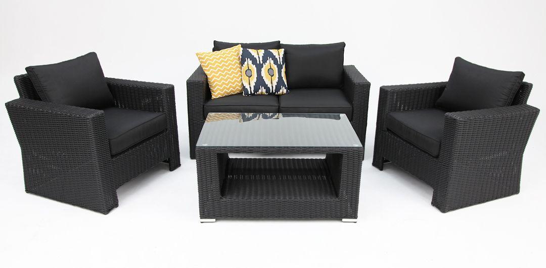 Banksia 4 piece lounge setting (2+1+1+CT) black half round/charcoal