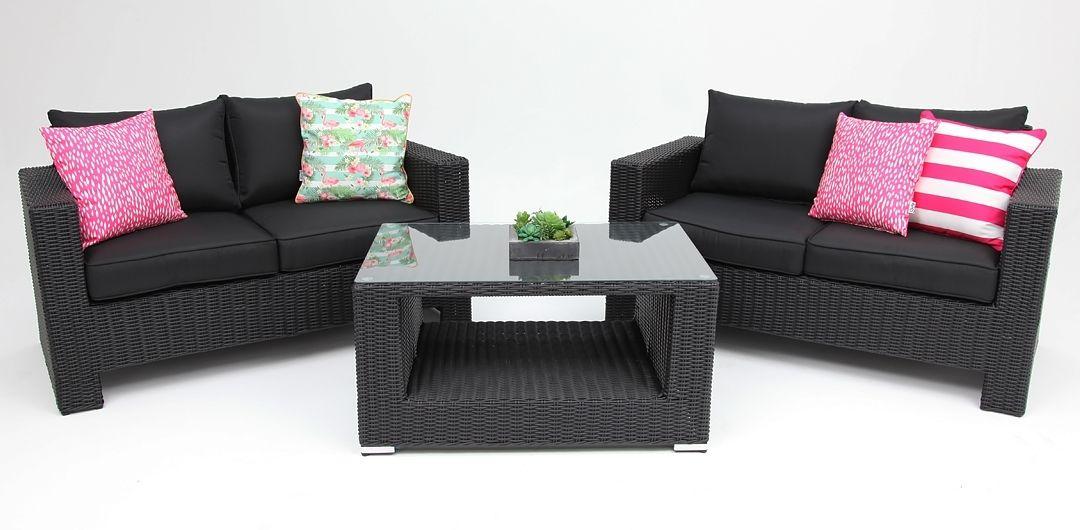 Banksia 3 piece lounge setting (2+2+CT) half round rattan black half round/charcoal