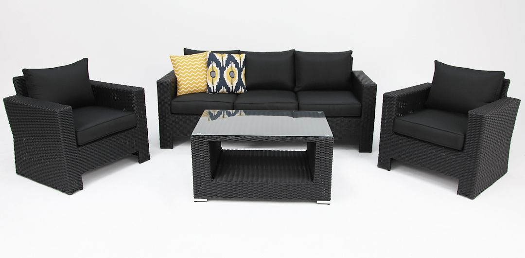 Banksia 4 piece lounge setting (3+1+1+CT) black half round/charcoal