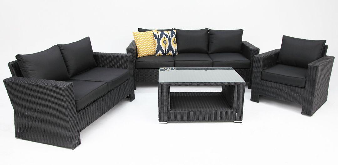 Banksia 4 piece lounge setting (3+2+1+CT) black half round/charcoal