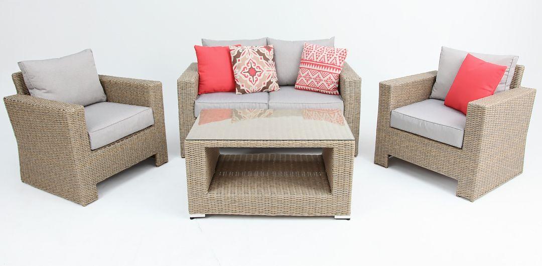 Banksia 4 piece lounge setting (2+1+1+CT) half round rattan driftwood/stone