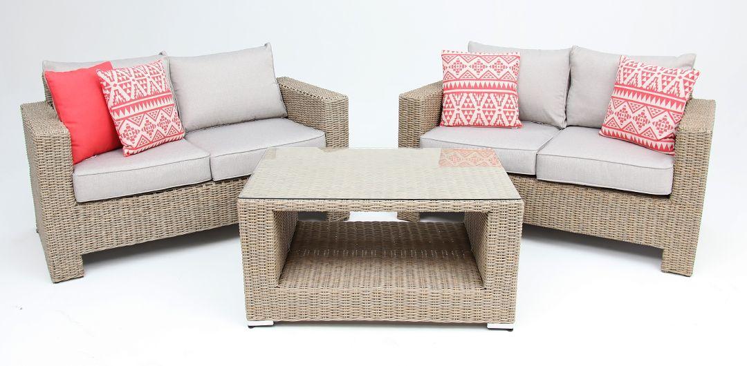 Banksia 3 piece lounge setting (2+2+CT) half round rattan driftwood/stone