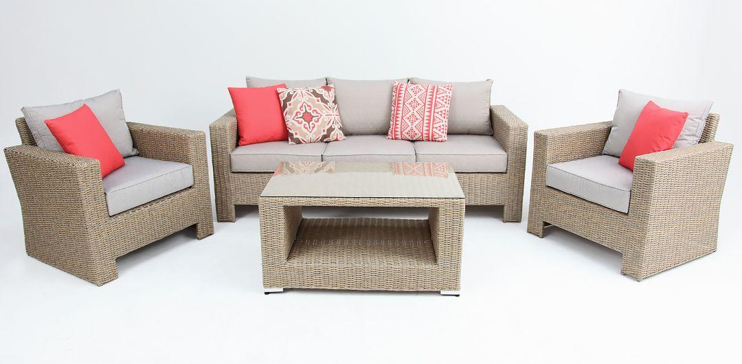 Banksia 4 piece lounge setting (3+1+1+CT) half round rattan driftwood/stone