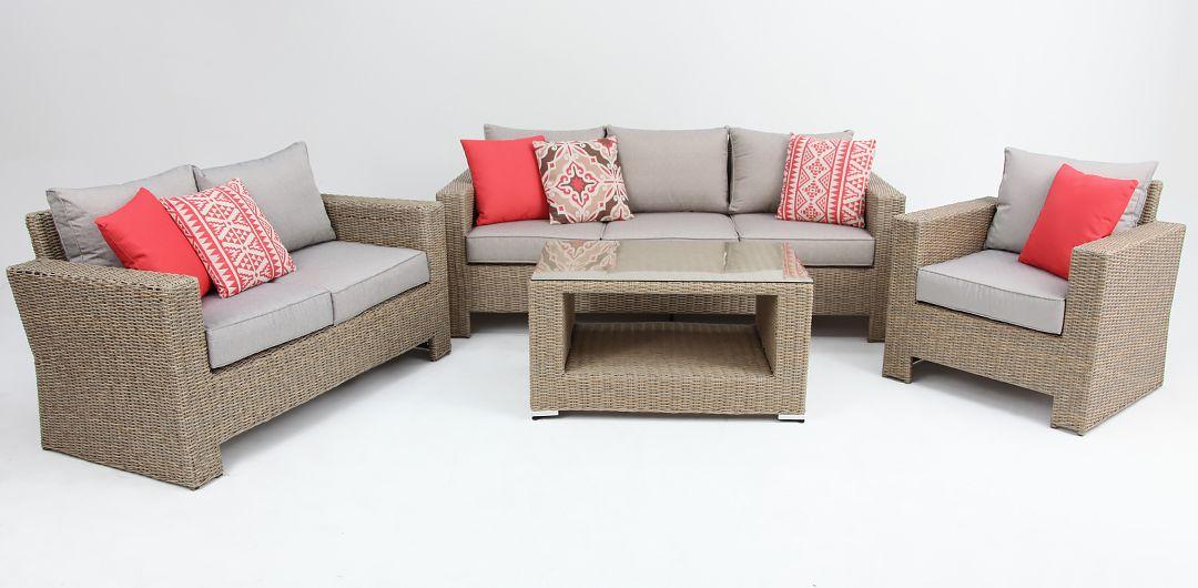 Banksia 4 piece lounge setting (3+2+1+CT) half round rattan driftwood/stone