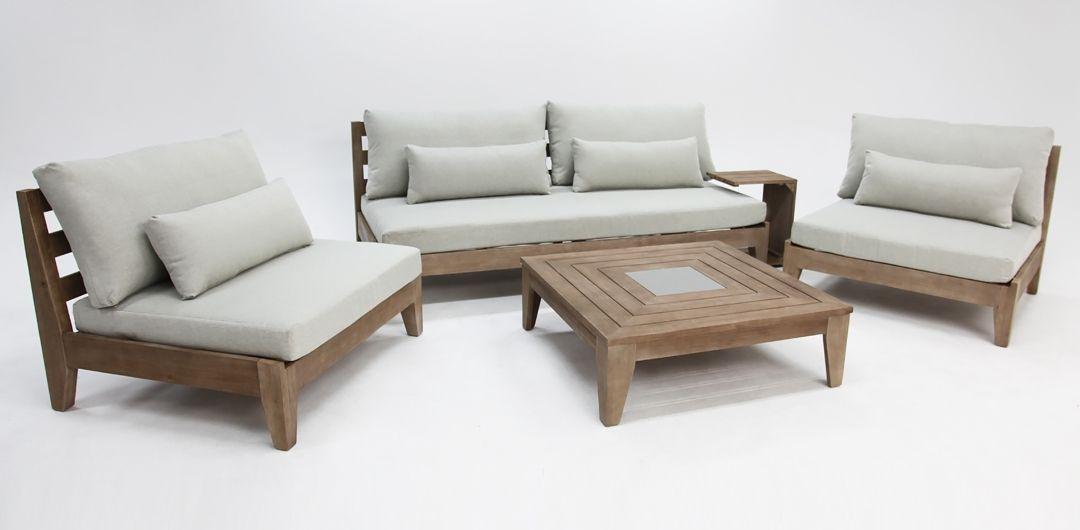 Cano 5 piece timber lounge setting light grey