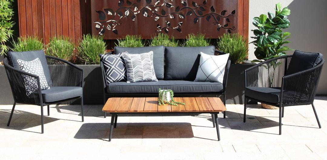 Carina 4 piece lounge setting black