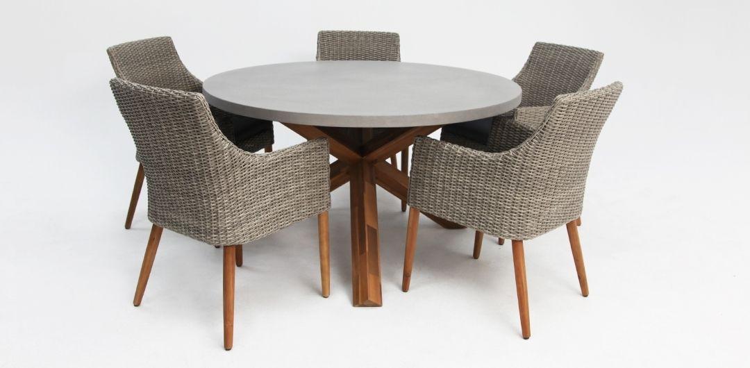 Charlotte-Faro 135cm 6 piece concrete dining setting kobo grey