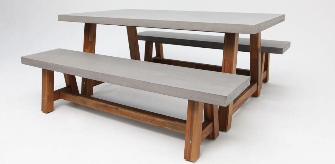 Charlotte 180cm 3 piece concrete dining setting