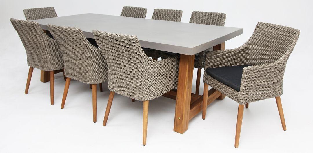Charlotte-Faro 240cm 9 piece concrete dining setting kobo grey