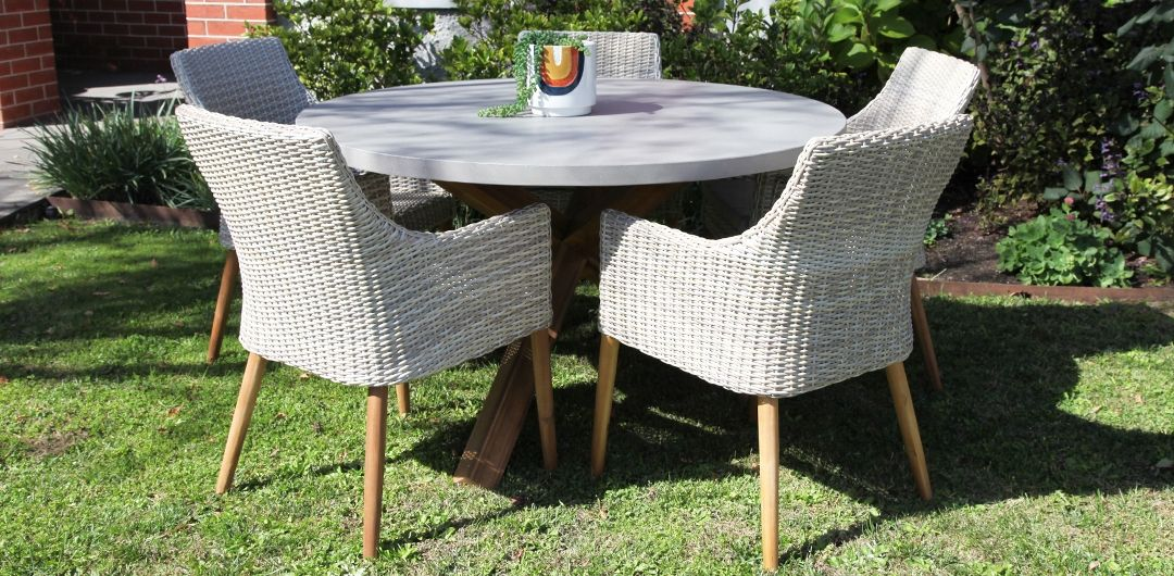 Charlotte-Faro 135cm 6 piece concrete dining setting mixed white natural