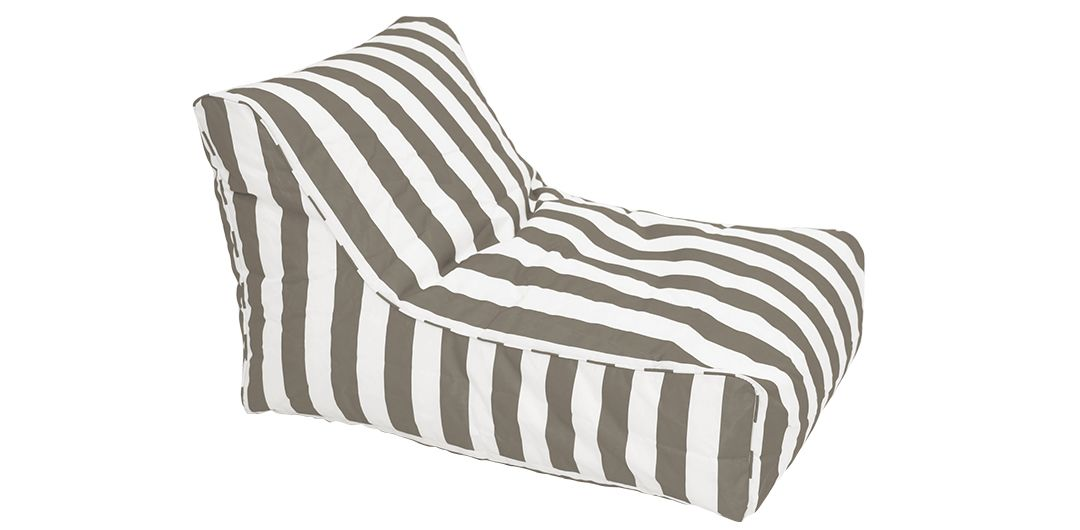 Chill Out outdoor beanbag taupe and white stripe