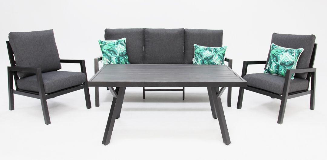 Colette 4 piece aluminium lounge setting anthracite/grey
