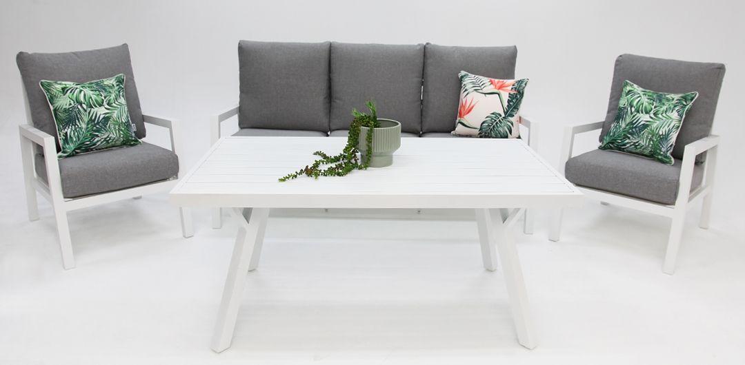 Colette 4 piece aluminium lounge setting white/grey