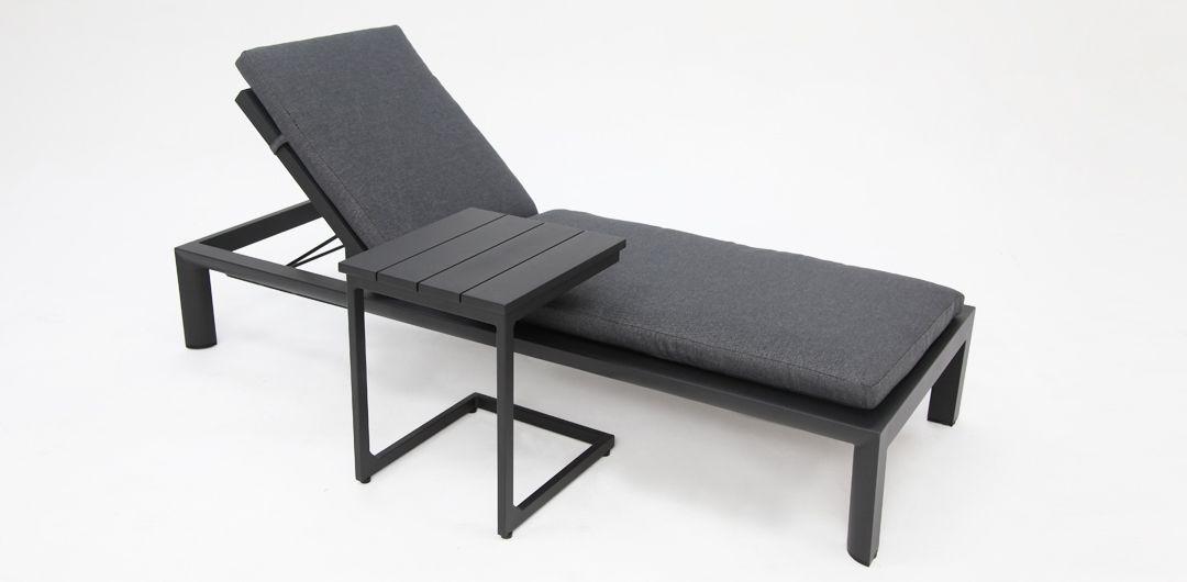 Dallas aluminium sunlounge and side table black