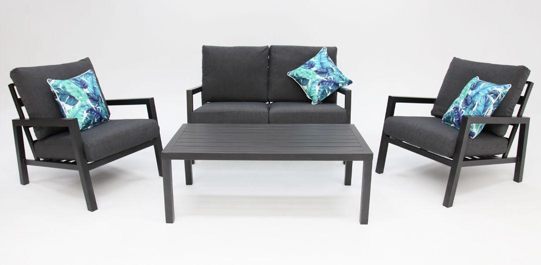 Consuela aluminium 4 piece lounge setting anthracite/dark grey