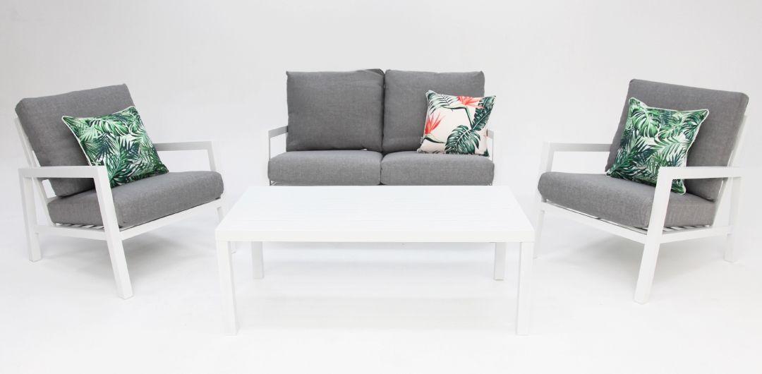 Consuela aluminium 4 piece lounge setting white/light grey