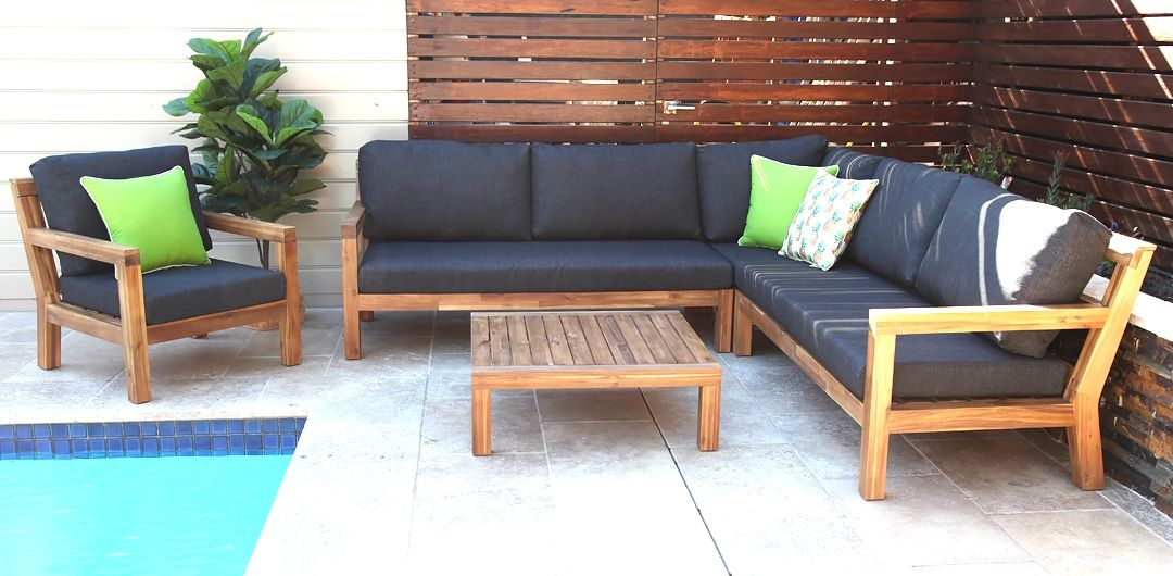 Cuban L shaped timber lounge setting with armchair