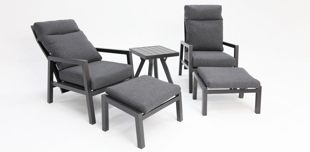 Dakota aluminium recline 5 piece relax setting anthracite/dark grey