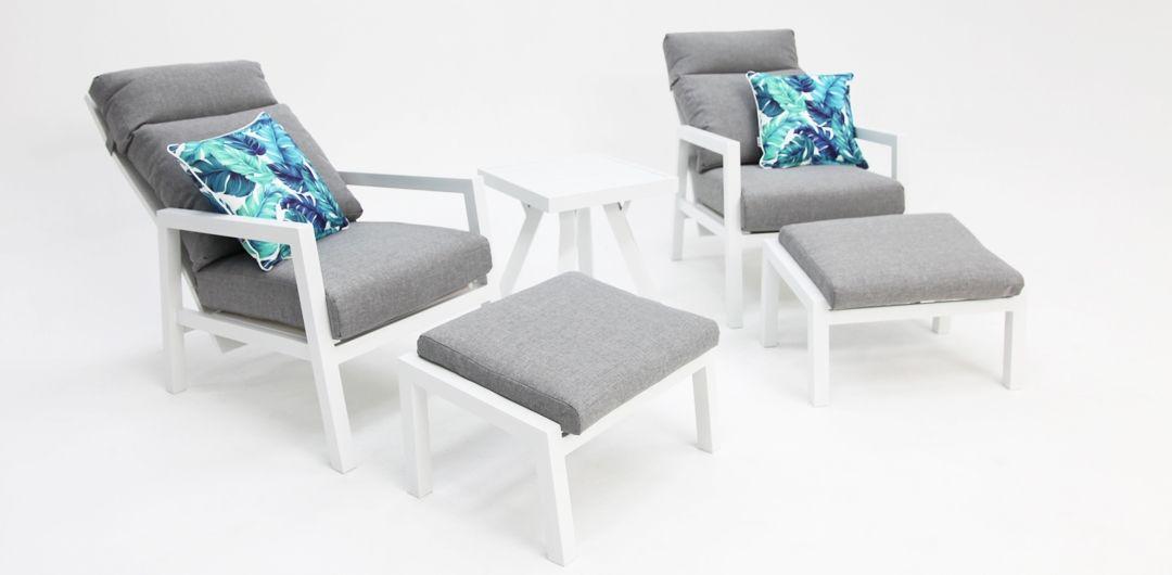 Dakota aluminium recline 5 piece relax setting white/light grey