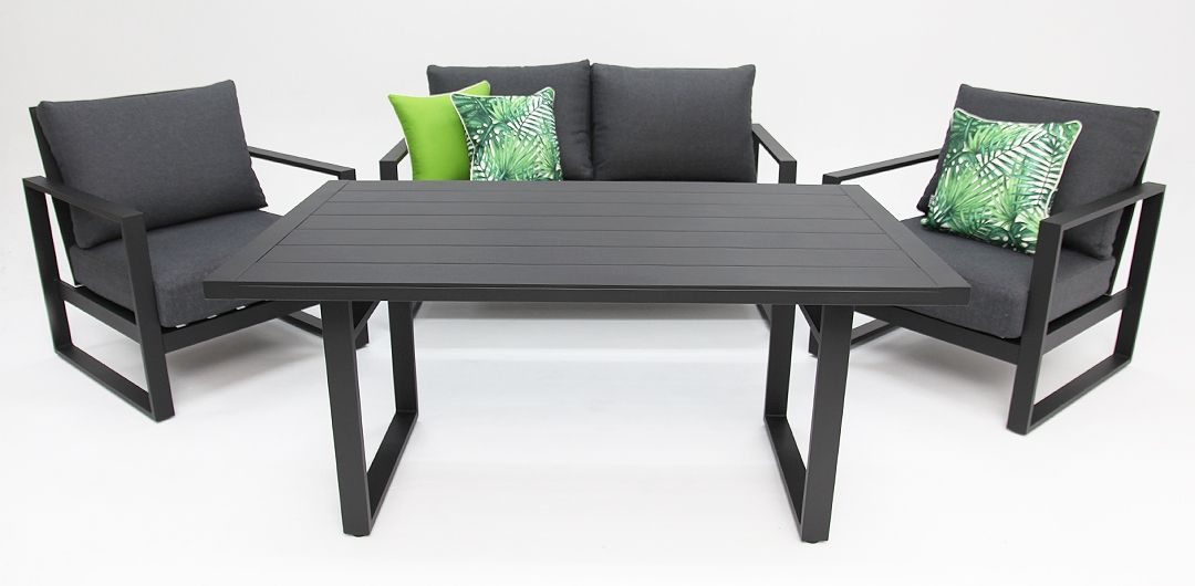 Dallas aluminium 4 piece lounge setting black/grey 211LD
