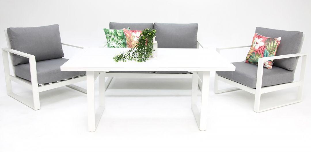 Dallas aluminium 4 piece lounge setting white/alpha grey 211LD